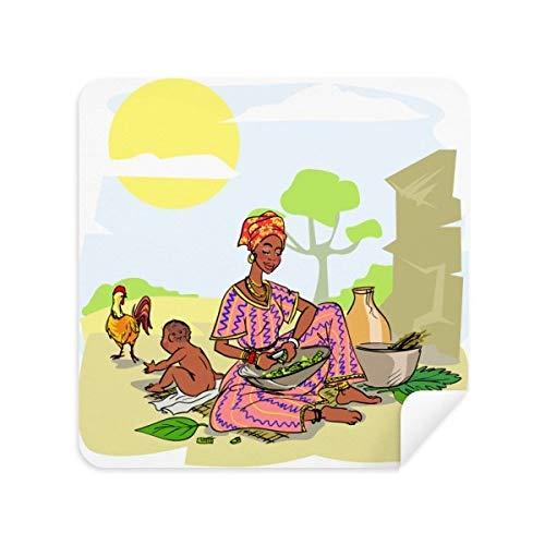 DIYthinker Zwarte Vrouwen Kind Totems Afrikaanse Aboriginal Bril Schoonmaken Doek Telefoon Screen Cleaner Suede Stof 2 Stks