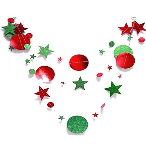 Basage 10 Piezas Guirnalda de Papel Redonda con Estrella Brillante Bandera de Navidad Banderines Cumplea?Os Fiesta de Navidad Decoraciones Navidad
