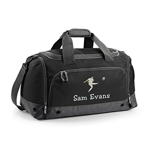 Harlequin Designs personalisierbar Rugby Reisetasche Kit Bag, schwarz