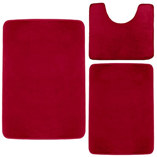 Clara Clark Non Slip Memory Foam Tub-Shower Bath Rug Set, Includes 1 Small Size 17 x 24 in. 1 Large Size 20 X 32 in. 1 Contour Rug 24 x 19 In. - Burgundy Red