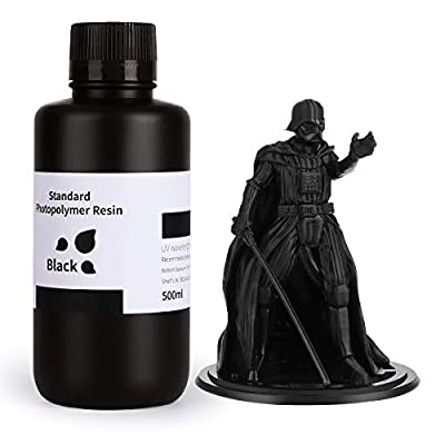 ELEGOO LCD UV 405nm Rapid 3D Resin for LCD 3D Printer 500g Photopolymer Resin Black
