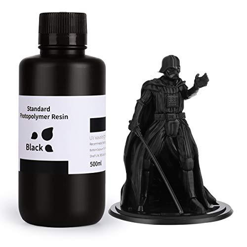 ELEGOO LCD UV 405nm Rapid Resin für LCD 3D Drucker Photopolymer Kunstharz Flüssige 3D-Druckmaterialien Super Schwarz 500g