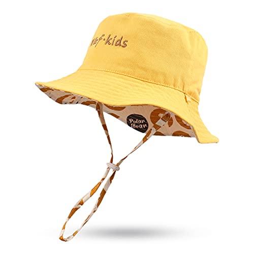 Pesaat Sombrero de verano para bebé, para niños, reversible, protección UV 50+ amarillo 6-12 Meses