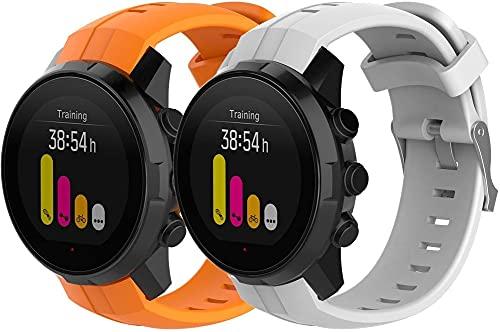 Classicase Correa de Reloj Compatible con Suunto Spartan Sport / Ambit3 Vertical, Impermeable Reemplazo Correas Reloj Silicona Banda (Pattern 1+Pattern 3)