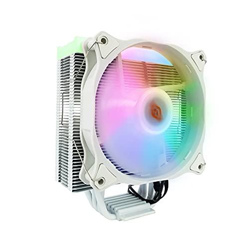 Noua Numb White ADD-RGB Disipador de CPU 4 Heatpipes TDP 120W Ventilador PWM de 120mm Addressable 5V 3-Pin Compatible para CPU Intel 1200 1155 1151 1150 1366 y AMD AM4 AM3+ AM3 AM2+ AM2