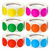 3000 Pcs 1' Round Color Coding Circle Dot Labels on 6 Rolls, 500 Count Each, Includes Bright Yellow Green Red Pink Orange Blue
