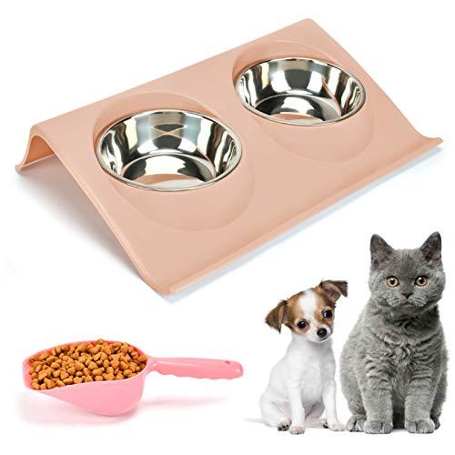 KATELUO Doppelter Futternapf Katzen, Futternäpfe Katzenfutter, FutternapfKatze, Katzennapf 15 ° Neigung Futternapf, Hundenapf Schräg,katzenschüssel Set für Katze Welpe Futter und Wass