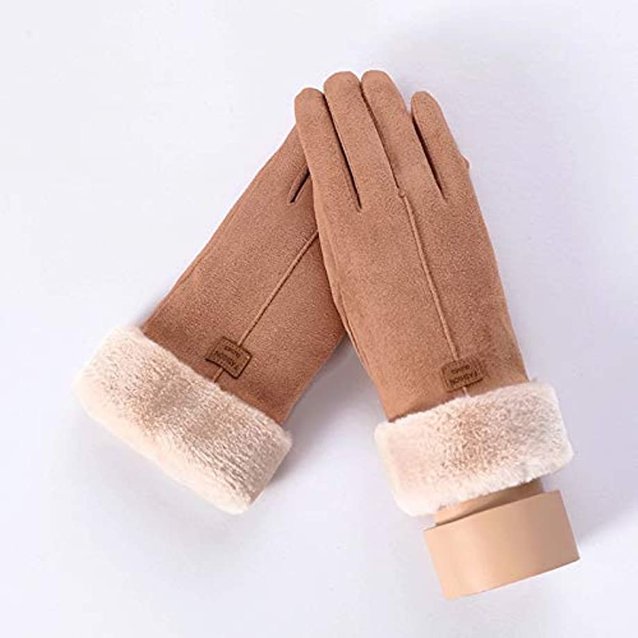 Pracien - Winter Female Lace Warm Cashmere Three Ribs Cute Bear Mittens Double Thick Plush Wrist Women Touch Screen Driving Gloves 81C [ C Khaki ]