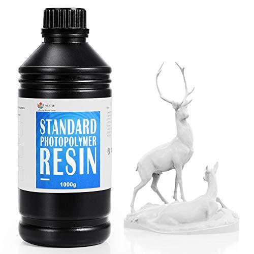 WEISTEK Stampante 3D Resina LCD 405nm Fotopolimerizzante UV Resina Fotopolimerica Standard per Stampa 3D SLA LCD, Bianco 1000g