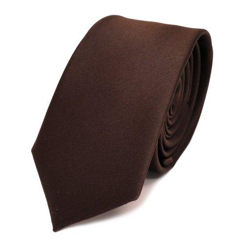 TigerTie schmale Satin Krawatte in braun dunkelbraun schokoladenbraun einfarbig uni