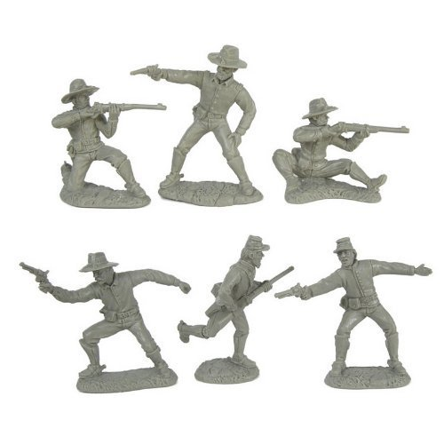 Civil War Dismounted Cavalry Plastic Army Men: 12 GRAY 54mm Figures - 1:32 scale by Toy Soldiers of San Diego