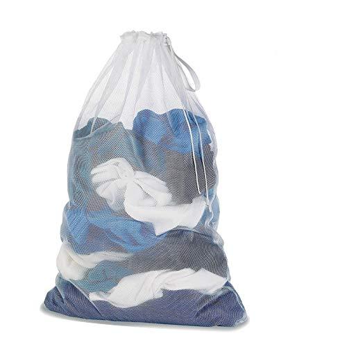DoGeek Wäschenetz Für Waschmaschine Wäschesack Wäschebeutel für Oberbekleidung, Dessous, Socken, Strumpfhosen, Strümpfe und Baby Kleidung (Größe: 60 x 90 cm für 5 kg Wäsche 2 Stück) (Weiß, 1pcs)