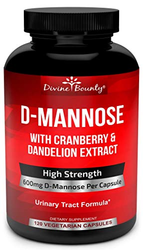 D-Mannose Capsules - 600mg D Mannose Powder per Capsule with Cranberry and Dandelion Extract to Support Normal Urinary Tract Health - 120 Veggie Capsules