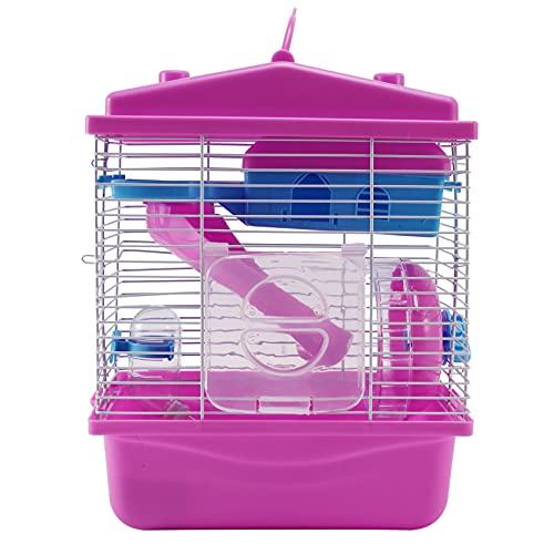 Heritan Casa de hámster con tragaluz transparente de doble capa para hámster Golden Hamster Pet Pink