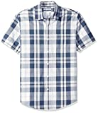 Amazon Essentials Men's Slim-Fit Short-Sleeve Plaid Casual Poplin Shirt, White/Navy, X-Large
