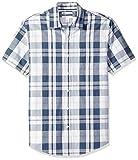 Amazon Essentials - Camicia da uomo a maniche corte, in popeline, stile casual, Slim Fit, White/Navy Large Plaid, US L (EU L)
