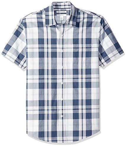Amazon Essentials Herrenhemd, schmale Passform, kurzärmlig, Popeline, White/Navy Large Plaid, US L (EU L)