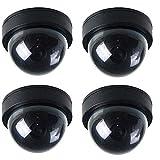 BW 4 x Cámaras CCTV de imitación para seguridad con luz intermitente LED roja.