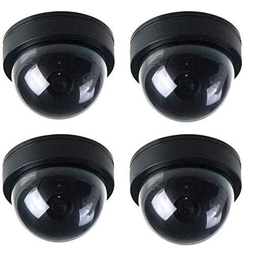 4x Dome-Videoüberwachungskamera-Attrappen mit blinkendem rotem LED-Licht