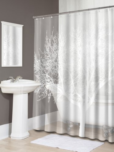 Splash Home EVA 5G Shower curtain Liner Design for Bathroom Shower and Bathtubs - Free of PVC Chlorine and Chemical Smell - Non-Toxic and Eco-Friendly - 100% Waterproof - Tree Pearl