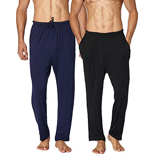 2er Pack Herren Pyjama Die Hosen Schlafanzughosen Relax Hose Lang Schlafanzughose...