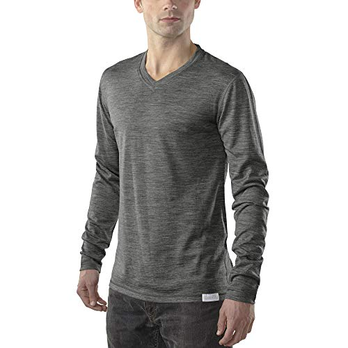 Woolly Clothing Men's Merino Wool V-Neck Long Sleeve Shirt - Ultralight - Wicking Breathable Anti-Odor S CHR Charcoal