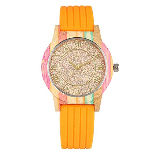 DZNOY Reloj de Madera Reloj de Madera Reloj de Madera para Hombres Números Romanos Dial Relojes de Madera para Novio Banda de Silicona Reloj de Pulsera de Madera para Marido Reloj de Bolsillo