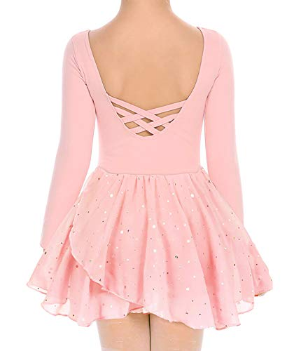 Move Dance Girls Dance Leotards Long Sleeve Ballet Outfits Clothes Tutu Dress for 4-9 Years (Pink, 6-7 Years)