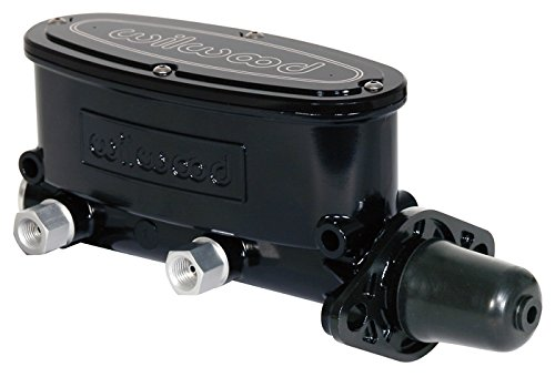 NEW WILWOOD BLACK ALUMINUM TANDEM CHAMBER MASTER CYLINDER, DUAL OUTLET, 1 1/8' BORE