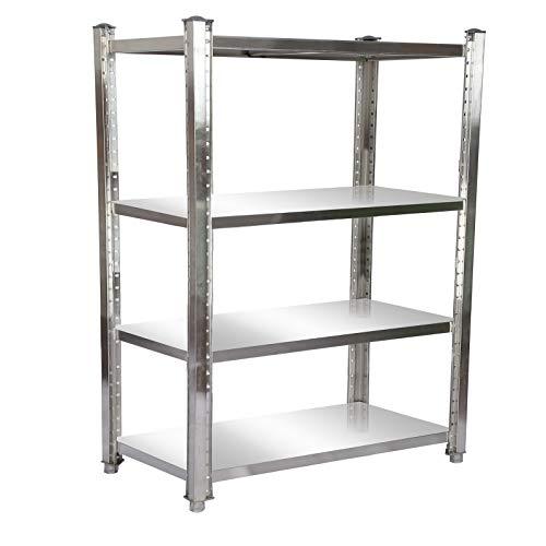 Estantería de acero inoxidable 150x50x155cm con 4 baldas para hostelería, cocina industrial, almacén
