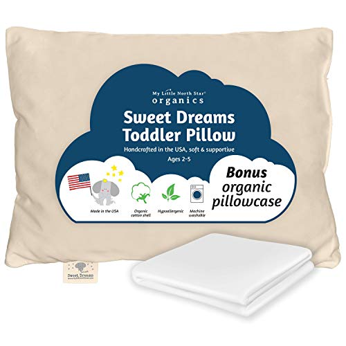 Organic Toddler Pillow & Pillowcase, Pillow Made in USA, 13X18, Soft, Hypoallergenic, Safe, Sulfate & Cruelty free, Machine Washable. Ideal for travel & daycare