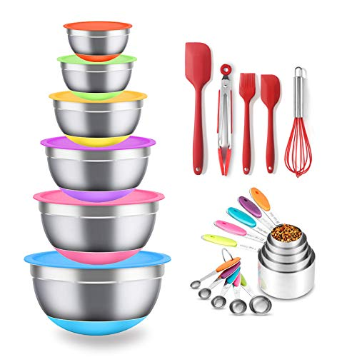 Mixing Bowls with Airtight Lids-BPA Free,21pcs Stainless Steel Metal Nesting Bowls,Non-slip Silicone Bottom,Size 6, 4, 3.5, 2.5, 2, 1.5QT,Great for Mixing & Serving,Baking Supplies