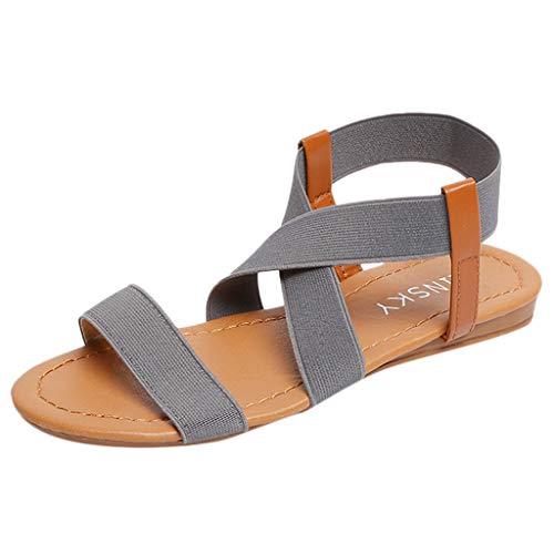 DEELIN Zapatos De Playa De Tacón Bajo Antideslizante De Las Mujeres Sandalias De La Correa De La Cruz Peep-Toe Sandalias
