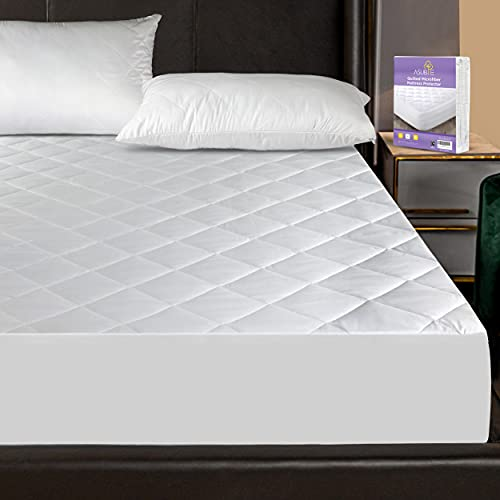 """Asubie Quilted Microfibre Mattress Protector King Size Fitted Bed Cover Hotel Quality UK Size (59 x 79 inches + 16"""" Deep Stretching)"""