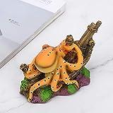 wosume 【𝐕𝐞𝐧𝐭𝐚 𝐏𝐫𝐢𝐦𝐚𝒗𝐞𝐫𝐚】 Pulpo de simulación de pecera, 4.53x2.36x2.76 Pulgadas Simulación de Resina de Acuario Simulación de Pulpo, Octopus Hide House Pecera de Acuario