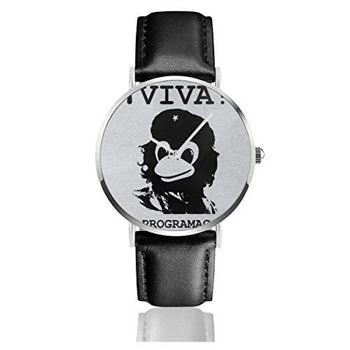 Unisex Viva Programmierung Tux Linux Che Guevara Uhren Quarz Lederuhr mit schwarzem Lederband