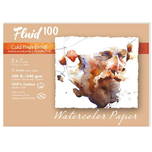 Fluid 100 Watercolor Paper 821705 300LB 100% Cotton Cold Press 5 x 7 Pochette, 12 Sheets