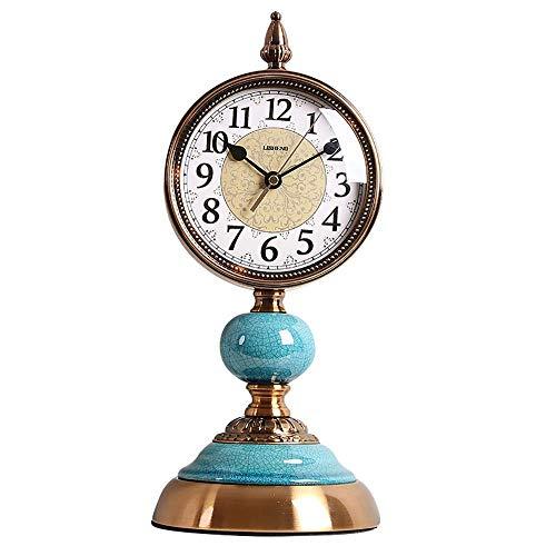 Reloj de Chimenea Reloj de Escritorio Retro Diseño silencioso Hecho de Porcelana de Metal Diseño clásico Sofisticado Reloj Sentado con Pilas para la colección de decoración de Sala de Estar Antig
