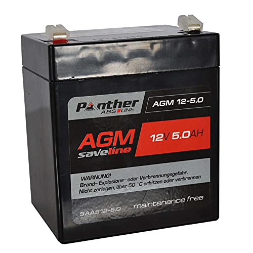 Rasenmäher-Batterie 12V 5Ah - [ Panther AGM Saveline Batterie ] Starterbatterie für E-Starter Rasenmäher/Aufsitzmäher mit Anlasser [ Blei Gel Akku wartungsfrei auslaufsicher ]