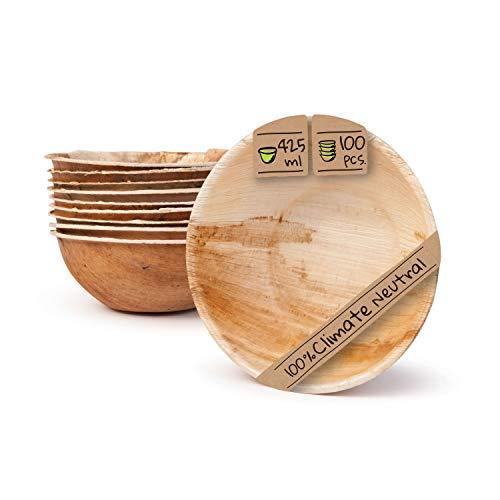 BIOZOYG Umweltfreundliches Einweggeschirr aus Palmblättern | 100 Stück Palmblatt Schale rund 425ml Ø15cm | Salat-Schüssel Dipschalen Suppenschale Servierschale Snackschale Einwegschale