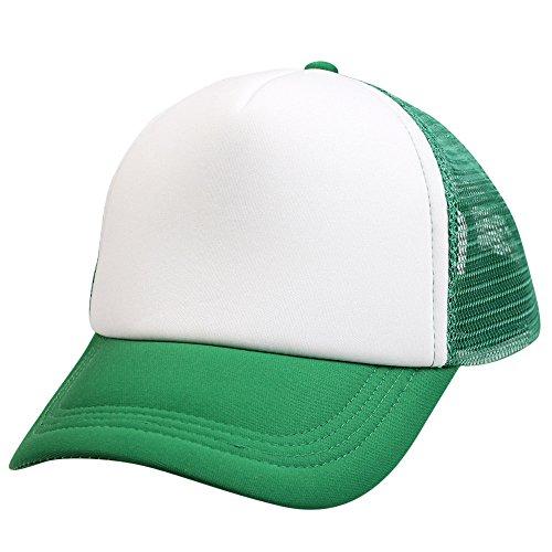TUDUZ Baseball Cap Unisex Mesh Hut Kappe Classic Snapback 2-Tone Cap, Zweifarbige blanko Cap mit geradem Schirm, One Size Einheitsgröße für Damen und Herren(,Grün)