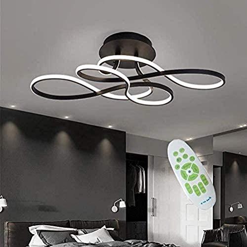 Lámpara de techo para dormitorio, moderna lámpara LED regulable de metal, lámpara de salón, diseño de flores, acrílico, curvado para con luz