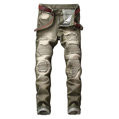 GuoCu Pantalones Vaqueros de Motocicleta Hombre,Vintage Pantalones Moto Mezclilla,Tejanos para Motorista Protecciones,Jeans de Moto,Motorcycle Biker Pants Rasgados Pantalones Equitación Verde 42W