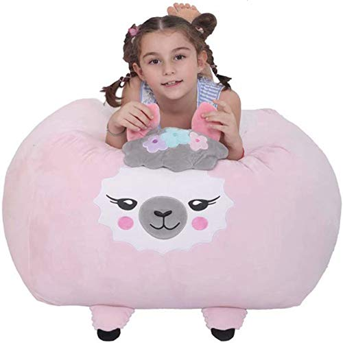 Stuffed Animal Storage Bean Bag Cover, Sheep Toy Organizer Velvet Extra Soft Stuffie Seat with Zipper for Kids Toys Blankets, Towels and Clothes Household Supplies