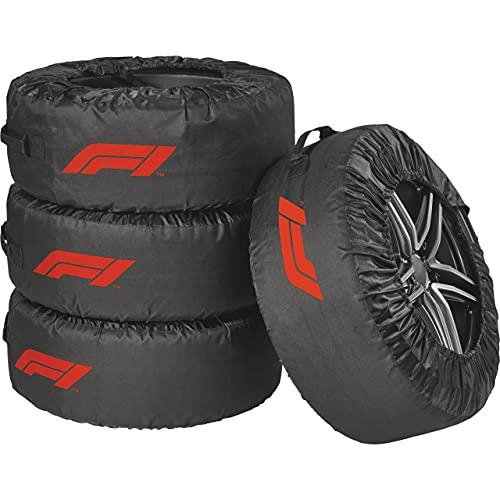Formula 1 Reifentaschen-Set, Reifenschutzhülle, 4-teilig, wasserabweisend, waschbar, schwarz-rot, für sauberen Transport und sichere Aufbewahrung
