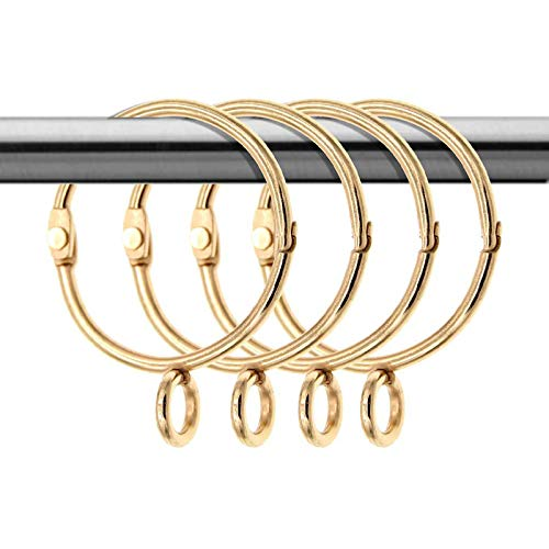 Anillos de cortina dorados de metal inoxidable con ojales y extremos abiertos, color dorado
