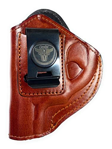 Cardini Leather USA – Zorro Series Holster – Right Handed – Brown Leather – For S & W J Frame – Concealed Carry IWB with Clip