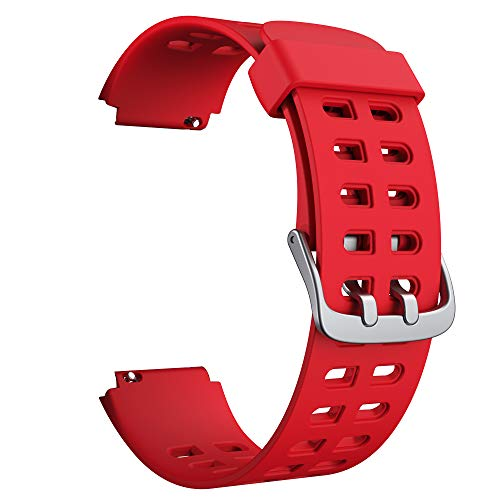 Soft Silicone Smart Watch Bands Replacement Straps Bands(23mm) for YAMAY SW020 ID205 Smart Watch (Red)