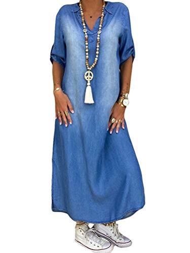 ORANDESIGNE Damen V-Ausschnitt Jeanskleider Denimkleid Sommerkleid Lose Kurzarm Partykleid Tunika Hemd Blusenkleid Jeanskleid Maxi Kleid (44, A Blau)