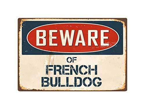 Cortan360 Beware of French Bulldog 8' x 5' Vintage Retro Sign VS176 Vinyl Retro Sticker Sign